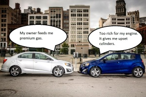 The 2014 Chevrolet Sonic RS sedan joins the Sonic line-up in Spring 2014 at a starting MSRP of $19,705. The performance-inspired Sonic RS sedan (left) offers customers the same youthful styling and sporty performance packaging as the hatchback (right).